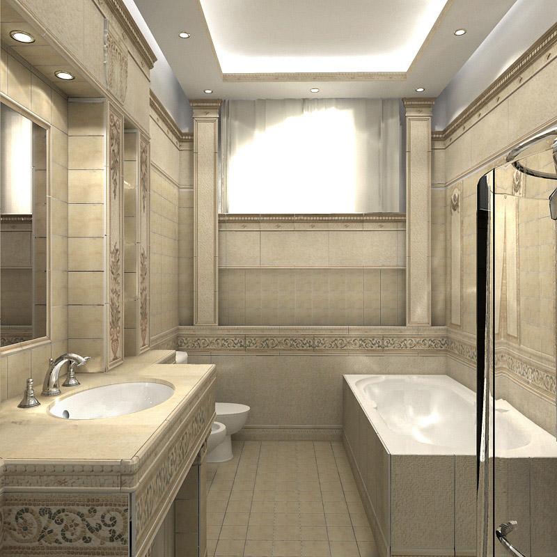 Классический интерьер ванной комнаты фото